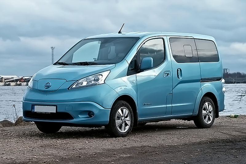 Blue Coloured Nissan e-NV200 Beside a River