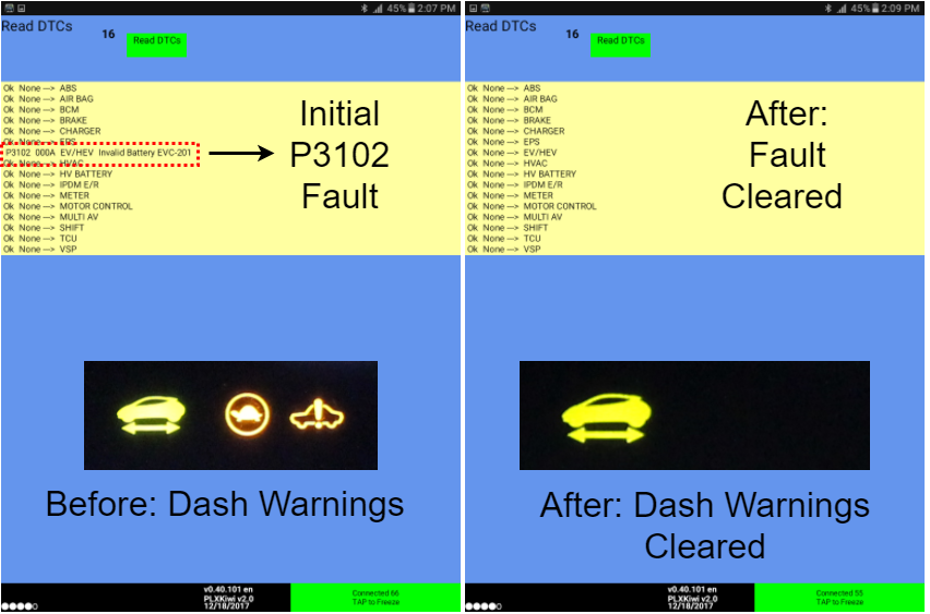 An Image Displaying An Example Of The EVs Enhanced Battery Pairing Tool Removing The Dash Warning Light