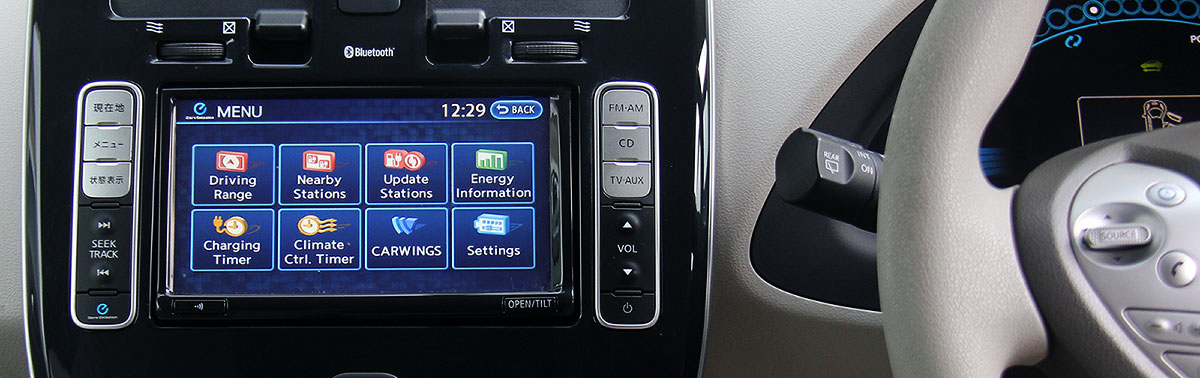 The dash of A Nissan Leaf After It Has Been Converted To English
